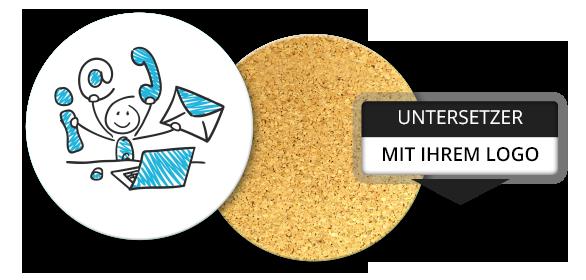 bedrucke untersetzer rund und eckig aus kork moosgummi mit ihrem Logo